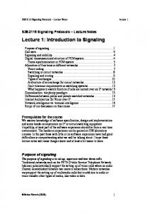 Lecture 1: Introduction to Signaling