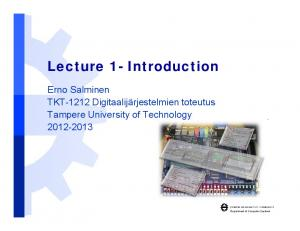 Lecture 1- Introduction