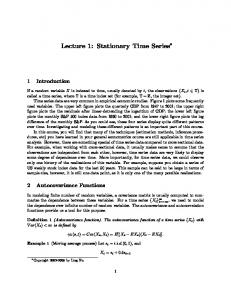 Lecture 1: Stationary Time Series