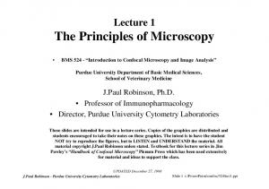 Lecture 1 The Principles of Microscopy