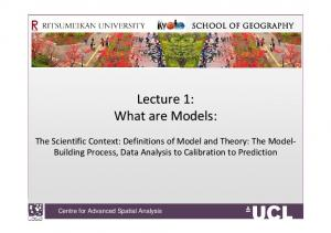 Lecture 1: What are Models: