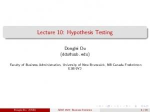 Lecture 10: Hypothesis Testing