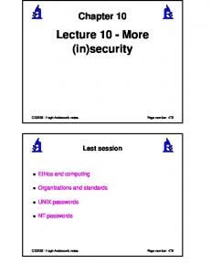Lecture 10 - More (in)security