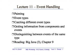 Lecture 11 Event Handling