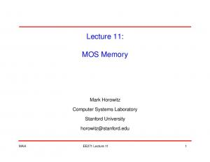 Lecture 11: MOS Memory