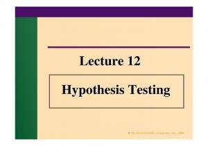 Lecture 12. Hypothesis Testing