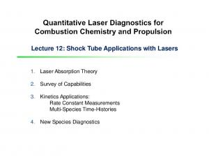 Lecture 12: Shock Tube Applications with Lasers