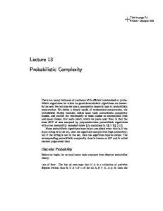 Lecture 13 Probabilistic Complexity