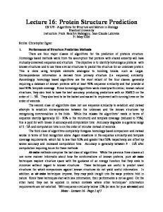 Lecture 16: Protein Structure Prediction