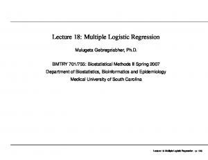 Lecture 18: Multiple Logistic Regression