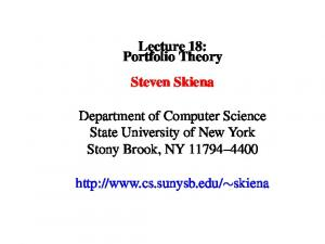 Lecture 18: Portfolio Theory Steven Skiena.  skiena