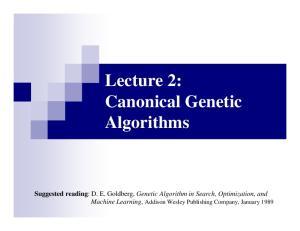Lecture 2: Canonical Genetic Algorithms