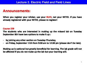 Lecture 2. Electric Field and Field Lines