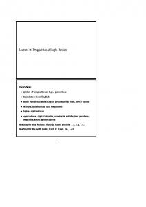 Lecture 2: Propositional Logic Review