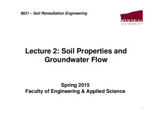 Lecture 2: Soil Properties and Groundwater Flow