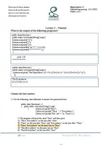 Lecture 2 Tutorial What is the output of the following programs?
