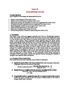 Lecture 20 FLOW-CONTROL VALVES