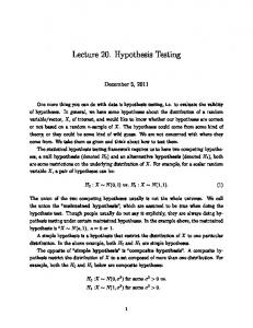 Lecture 20. Hypothesis Testing