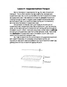 Lecture 21 Suspended Sediment Transport