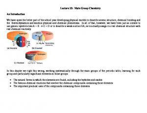 Lecture 23: Main Group Chemistry