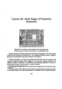 Lecture 26. Early Stage of Projective. geometry