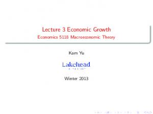 Lecture 3 Economic Growth