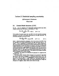 Lecture 3: Statistical sampling uncertainty