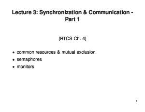 Lecture 3: Synchronization & Communication - Part 1
