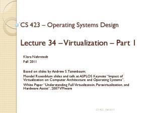 Lecture 34 Virtualization Part 1