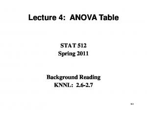 Lecture 4: ANOVA Table