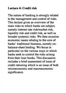Lecture 4: Credit risk