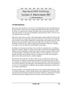 Lecture 4: Interconnect RC