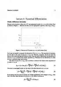 Lecture 4: Numerical differentiation