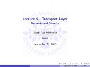 Lecture 4 - Transport Layer