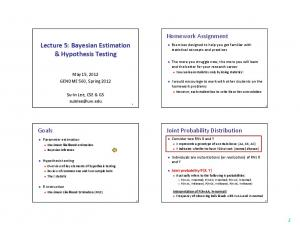 Lecture 5: Bayesian Estimation & Hypothesis Testing