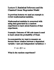 Lecture 5. Statistical Inference and the Classical Linear Regression Model
