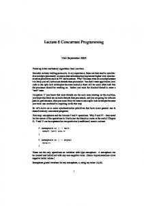 Lecture 6 Concurrent Programming
