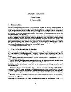 Lecture 6: Derivatives