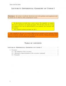Lecture 6: Differential Geometry of Curves I Table of contents