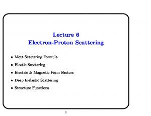 Lecture 6 Electron-Proton Scattering
