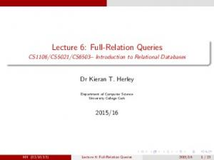Lecture 6: Full-Relation Queries