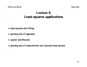Lecture 6 Least-squares applications