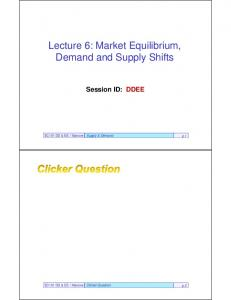 Lecture 6: Market Equilibrium, Demand and Supply Shifts