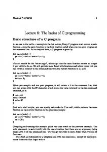 Lecture 6: The basics of C programming