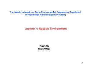 Lecture 7: Aquatic Environment