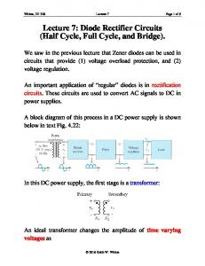 Lecture 7: Diode Rectifier Circuits (Half Cycle, Full Cycle, and Bridge)