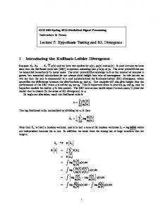 Lecture 7: Hypothesis Testing and KL Divergence