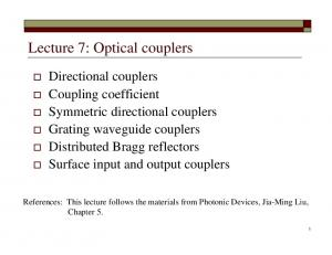 Lecture 7: Optical couplers