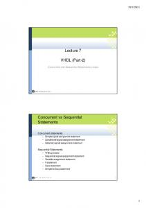 Lecture 7. VHDL (Part-2)