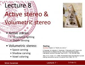 Lecture 8 Active stereo &